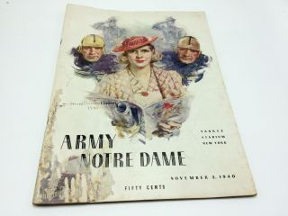 Army vs. Notre Dame Yankee Stadium November 2, 1940 Game Program. Howard Chandler Christy
