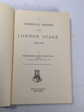A Chronicle History Of The London Stage 1559-1642