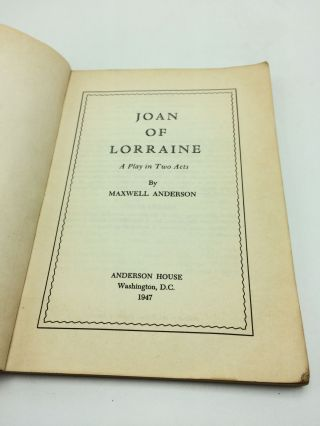 Joan Of Lorraine A Play In 2 Acts