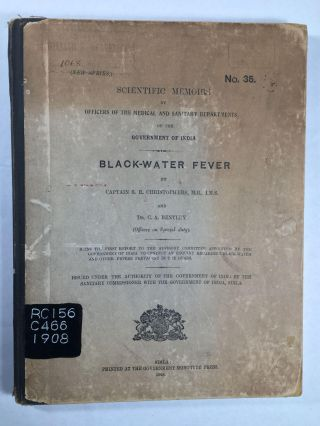 Scientific Memoirs By Officers Of The Medical And Sanitary Departments Of The Government Of India: Blackwater Fever