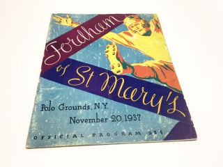 Fordham Vs. St Mary's Official Gameday Program November 20, 1937. Football