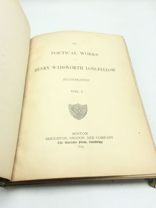 The Poetical Works of Henry Wadsworth Longfellow, 6 volume set in interesting binding
