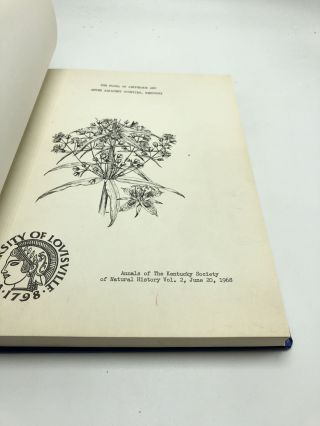 The Flora of Jefferson and Seven Adjacent Counties, Kentucky (Including Bullitt, Hardin, Jefferson, Meade, Nelson, Oldham, Shelby and Spencer Counties) - Annals of the Kentucky Society of Natural History, Vol. 2, June 20, 1968