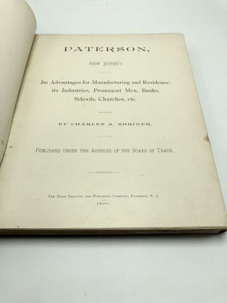 Paterson, New Jersey; Its Advantages For Manufacturing And Residence