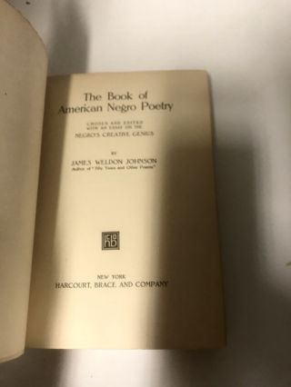 The Book of American Negro Poetry : With an Essay on the Negro's Creative Genius