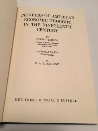 Pioneers of American Economic Thought in the Nineteenth Century