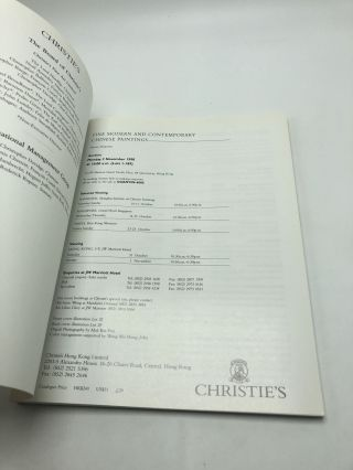 Christie's Hong Kong: Fine Modern and Contemporary Chinese Paintings: Monday 2 November 1998