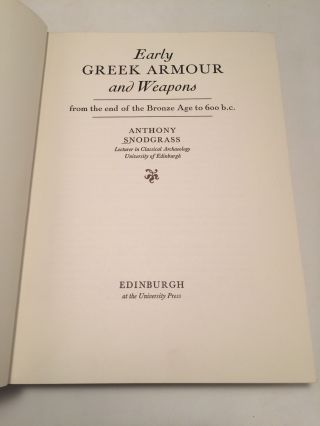 Early Greek Armour and Weapons