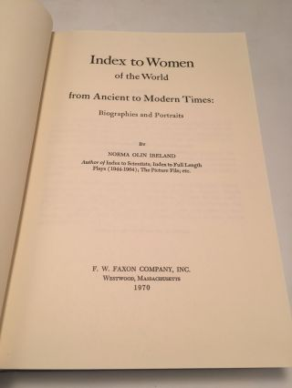 Index to Women of the World from Ancient to Modern Times