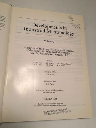 Developments in Industrial Microbiology