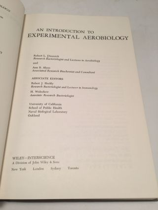 An Introduction to Experimental Aerobiology