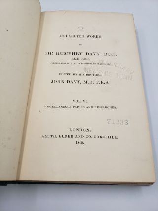 The Collected works of Sir Humphry Davy: Miscellaneous Papers and Researches (Volume 6)